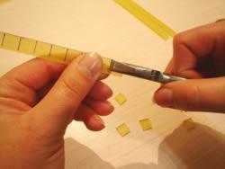 Mosaico em vidro - separação das tesselas