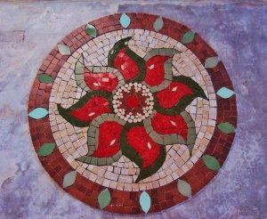 mosaico sobre cimento