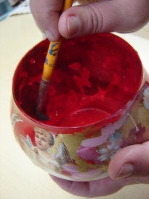 Découpage em vidro  -  pintando por dentro