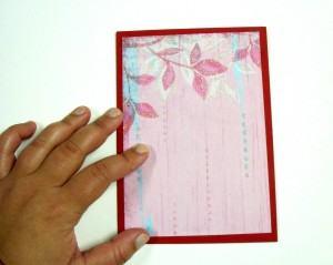 Cartão personalizado cola parte rosa