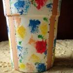 Pintura esponjado em vaso de ceramica com máscara !