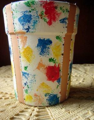 Pintura Esponjado Em Vaso De Ceramica Com M Scara Fazf Cil