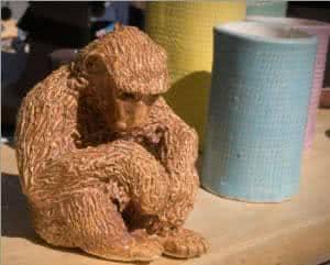 artesanato cerâmica - macaco