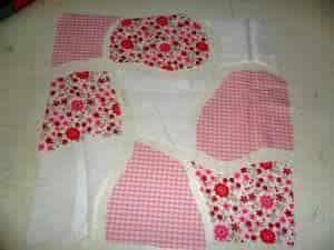 Almofada e manta, corte e tecidos