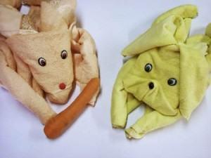 Origami de Coelho, decorando com toalhas!