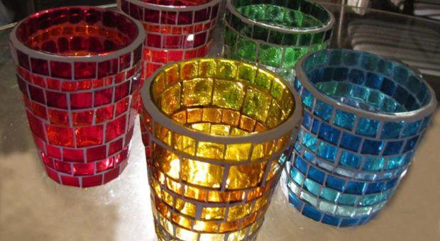 Porta-Vela de Mosaico de Vidro