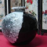 Pintura em vaso tipo Oriental com a técnica do Salpique