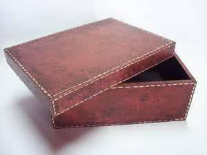 caixa pátina couro