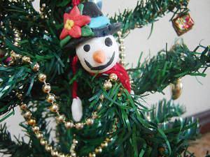 Boneco de Neve de Biscuit para Árvore de Natal