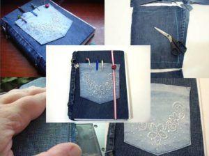 Capa de Livro Feita Com Calças Jeans