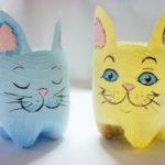 Vaso de Garrafa Pet em Forma de Gato
