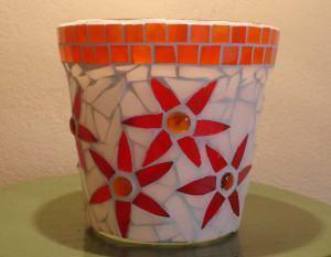 Cachepot de Vidro Revestido de Mosaico