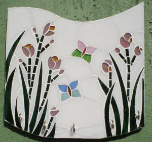 Porta-Chaves de Mosaico de Flores