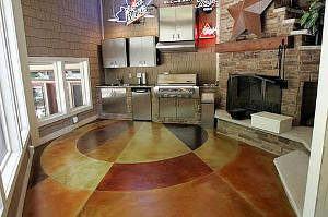 cimento queimado colorido cozinha