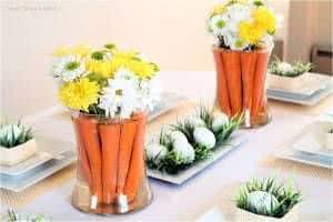 arranjo cenoura flores pascoa