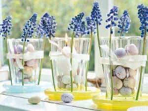 pascoa vasos vela flores ovos de codorna