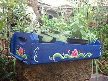 caixote vasos horta