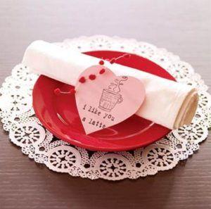 bilhete coração prato guardanapo