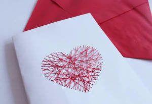 cartao coração linha