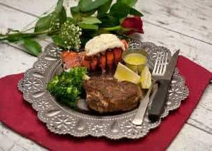 prato carne jantar rosa