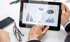 tablet gráfico finanças