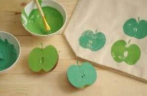 estampa em tecido com maçã