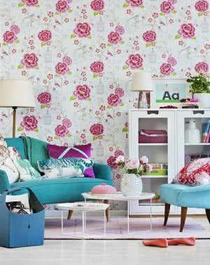 sala papel de parede flores