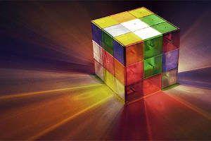 abajur cubo mágico