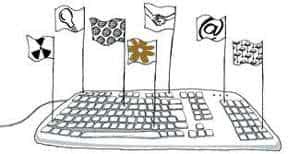 teclado bandeiras ilustração