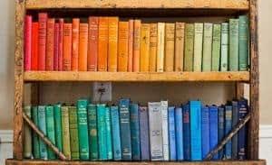livros coloridos estante