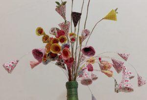 Arranjo de Flores com Retalhos de Pano