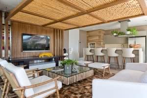 painel teto bambu